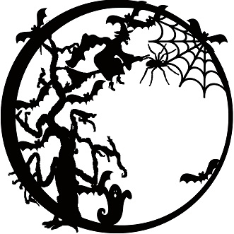 halloween circles 12 x 12 witch tree scary,halloween,spider,web,